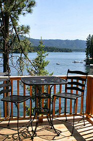 Enjoy meals on the deck while drinking in the view of beautiful Hayden Lake. Hayden Lake House Vacation Rental, Hayden Lake, Idaho